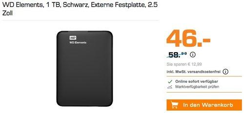WD Elements, 1 TB, Schwarz, Externe Festplatte, 2.5 Zoll - jetzt 9% billiger