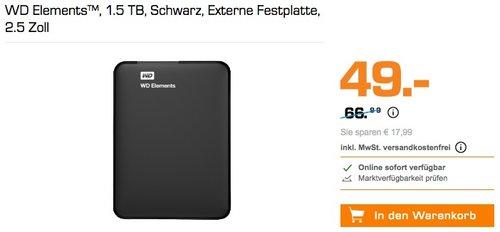 WD Elements™ 1.5 TB externe Festplatte 2.5 Zoll - jetzt 25% billiger