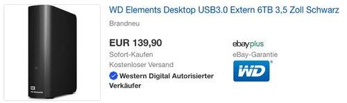 WD Elements Desktop 6 TB externe Festplatte USB3.0 - jetzt 15% billiger
