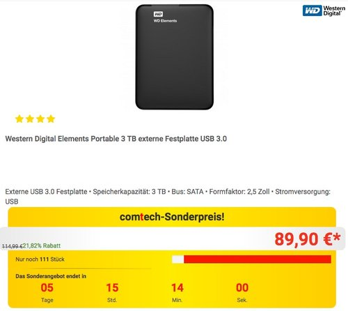 Western Digital Elements Portable 3 TB externe Festplatte USB 3.0 - jetzt 14% billiger