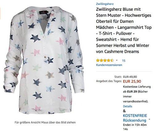 Zwillingsherz Bluse mit Stern Muster - jetzt 26% billiger