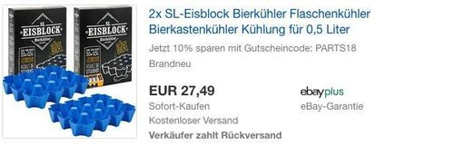 2x SL-Eisblock Bierkühler Flaschenkühler Bierkastenkühler Kühlung für 0,5 Liter - jetzt 10% billiger