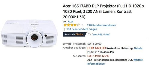 Acer H6517ABD DLP Full HD Projektor - jetzt 21% billiger