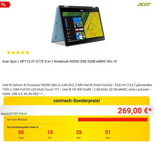 Acer Spin 1 SP113-31-C17E 2-in-1 Notebook N3350 2GB 32GB eMMC Win 10 - jetzt 10% billiger