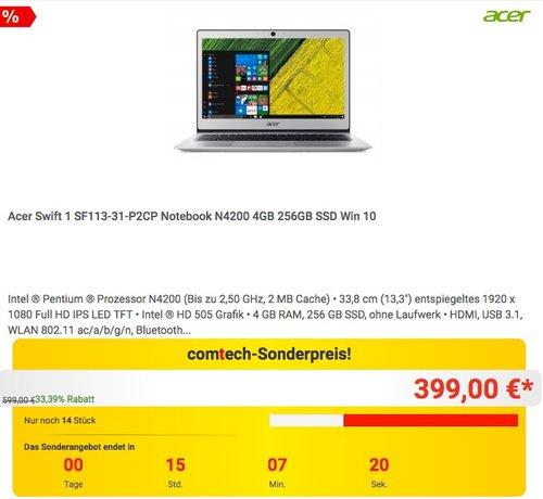 Acer Swift 1 SF113-31-P2CP Notebook N4200 4GB 256GB SSD Win 10 - jetzt 23% billiger