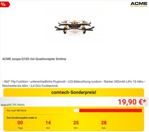 ACME zoopa Q165 riot Quadrocopter Drohne - jetzt 29% billiger