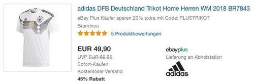 adidas DFB Deutschland Trikot Home Herren WM 2018 BR7843 - jetzt 20% billiger