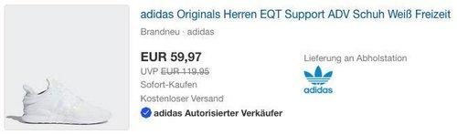 adidas Originals Herren EQT Support ADV Schuh Weiß - jetzt 13% billiger