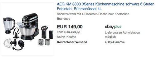 AEG KM 3300 Küchenmaschine, Edelstahl-Rührschüssel 4L - jetzt 12% billiger