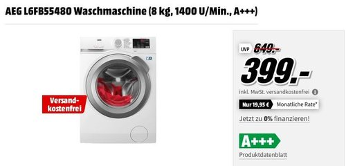 AEG L6FB55480 Waschmaschine (8 kg, 1400 U/Min., A+++) - jetzt 22% billiger