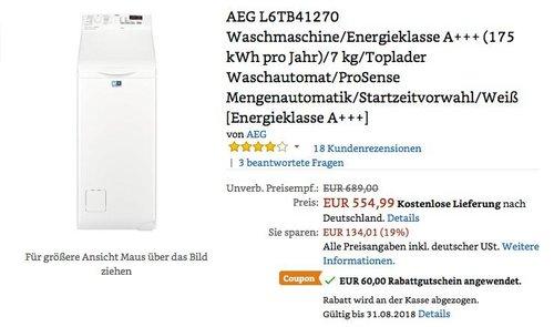 AEG L6TB41270 Waschmaschine/Energieklasse A+++ (175 kWh pro Jahr)/7 kg/Toplader - jetzt 11% billiger
