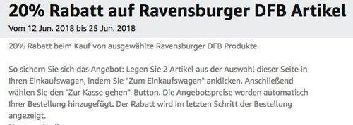 Amazon Aktion: 20% Rabatt auf ausgewählte Ravensburger DFB Produkte - jetzt 20% billiger