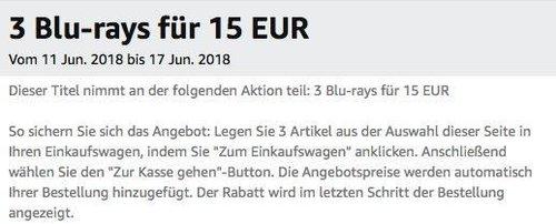 Amazon Aktion: 3 Blu-rays für 15 EUR bis 17 Jun. 2018 - jetzt 41% billiger