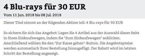 Amazon Aktion: 4 Blu-rays für 30 EUR bis 08 Jul. 2018 - jetzt 51% billiger