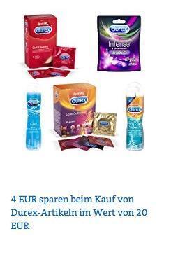 Amazon Durex-Aktion: 4€ Rabatt ab 20€ bis 1.07.18 (z. B. Durex Gefühlsecht Kondome 40 St. + Durex Intense Delight Minivibrator) - jetzt 12% billiger