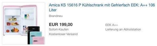Amica KS 15616 P Kühlschrank mit Gefrierfach EEK: A++ 106 Liter - jetzt 13% billiger