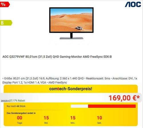 AOC Q3279VWF 80,01cm (31,5 Zoll) QHD Gaming-Monitor - jetzt 13% billiger