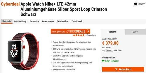 Apple Watch Nike+ LTE 42mm Aluminiumgehäuse Silber Sport Loop Crimson Schwarz - jetzt 20% billiger