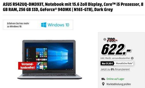 ASUS R542UQ-DM393T, Notebook mit 15.6 Zoll Display, Core™ i5 Prozessor, 8 GB RAM, 256 GB SSD, GeForce® 940MX - jetzt 22% billiger