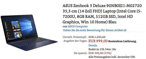 ASUS Zenbook 3 Deluxe  14 Zoll FHD Laptop (Intel Core i5-7200U, 8GB RAM, 512GB SSD, Intel HD Graphics, Win 10 Home) Blau - jetzt 33% billiger