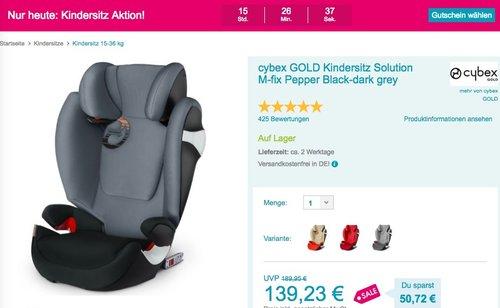 Babymarkt.de - bis zu 44€ Rabatt auf Kindersitze, nur heute (04.06.18) - cybex GOLD Kindersitz Solution M-fix - jetzt 26% billiger