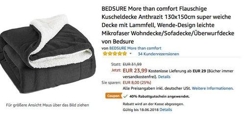BEDSURE More than comfort Flauschige Kuscheldecke Anthrazit 130x150cm super weiche Decke mit Lammfell - jetzt 40% billiger