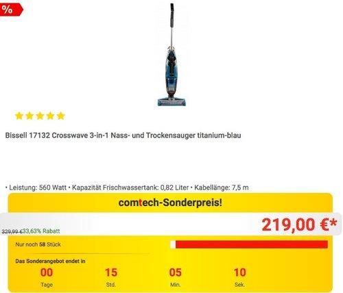 Bissell 17132 Crosswave 3-in-1 Nass- und Trockensauger in Titanium-Blau - jetzt 14% billiger