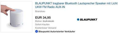 BLAUPUNKT BTL 110 Bluetooth Lautsprecher mit UKW-PLL Radio, LED Ambiente Licht und Freisprechfunktion - jetzt 50% billiger
