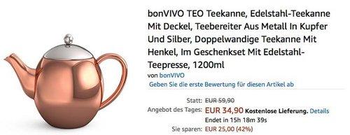 bonVIVO TEO Teekanne - jetzt 31% billiger