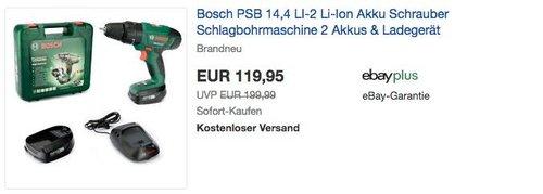 Bosch Akku Schlagbohrmaschine PSB 14,4 LI-2 (2 Akku, Ladegerät, Bit, Koffer, 14,4 Volt, 2,5 Ah) - jetzt 23% billiger