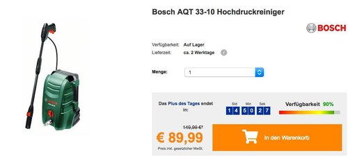Bosch AQT 33-10 Hochdruckreiniger - jetzt 18% billiger
