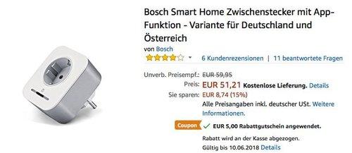 Bosch Smart Home Zwischenstecker mit App-Funktion - jetzt 10% billiger
