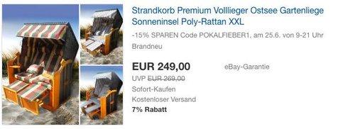 BRAST Strandkorb Premium Volllieger XXL - jetzt 29% billiger