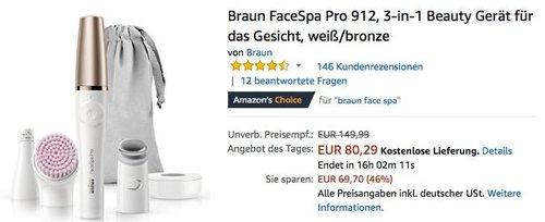 Braun FaceSpa Pro 912, 3-in-1 Beauty Gerät für das Gesicht - jetzt 27% billiger