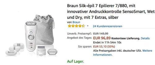Braun Silk-épil 7 Epilierer 7/880 - jetzt 16% billiger