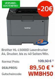 Brother HL-L5000D A4 Laserdrucker s/w - jetzt 18% billiger