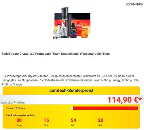 Comtech.de WM-Aktion: SodaStream Crystal 2.0 Titan Promopack - jetzt 21% billiger