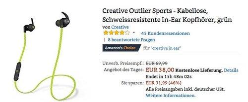 Creative Outlier Sports - Kabellose, Schweissresistente In-Ear Kopfhörer, grün - jetzt 24% billiger