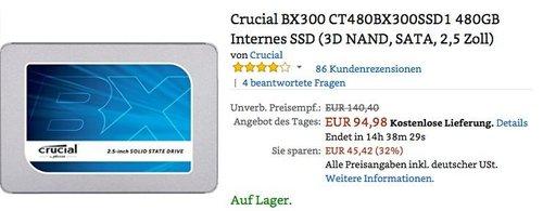 Crucial BX300 CT480BX300SSD1 480GB interne SSD Festplatte - jetzt 32% billiger
