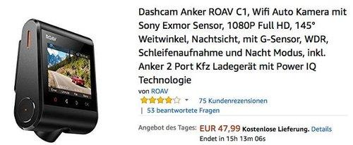 Dashcam Anker ROAV C1 - jetzt 17% billiger