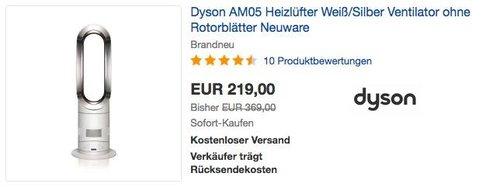 Dyson AM05 Heizlüfter Weiß/Silber Ventilator ohne Rotorblätter - jetzt 22% billiger