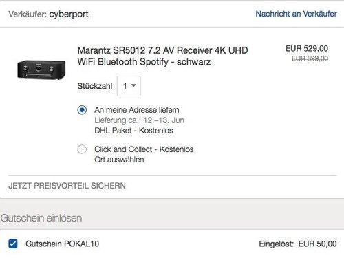 eBay 10% Rabatt auf ausgewählte Elektronik, Haus & Garten Artikel: Marantz SR5012 7.2 AV Receiver 4K - jetzt 20% billiger