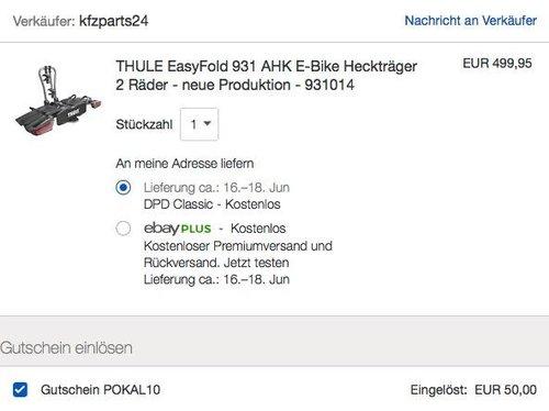 eBay 10% Rabatt auf fast alles: THULE EasyFold 931 AHK E-Bike Heckträger 2 Räder - jetzt 10% billiger