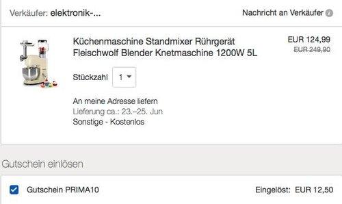 eBay 10% Rabatt auf Klarstein Artikel: Klarstein Lucia Morena Küchenmaschine - jetzt 10% billiger