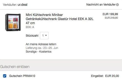 eBay 10% Rabatt auf Klarstein Artikel: z.B. Klarstein MKS-13 Minibar Mini-Kühlschrank - jetzt 10% billiger