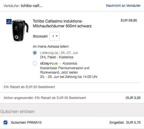 eBay 10% Rabatt auf Tchibo Artikel: z.B. Tchibo Cafissimo Induktions-Milchaufschäumer - jetzt 15% billiger