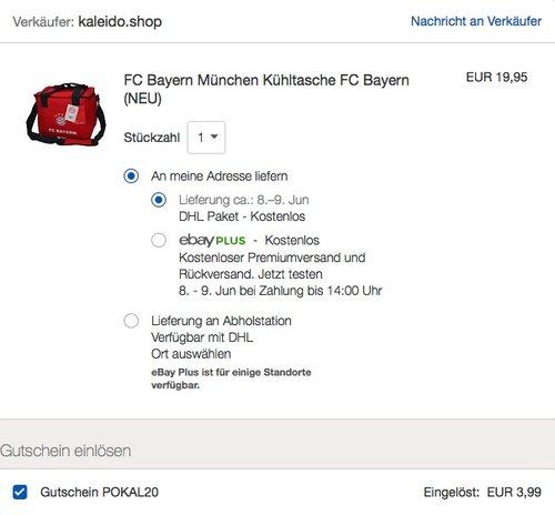 eBay 20% Rabattauf ausgewählte Fashion- & Sport-Artikel: FC Bayern München Kühltasche - jetzt 20% billiger