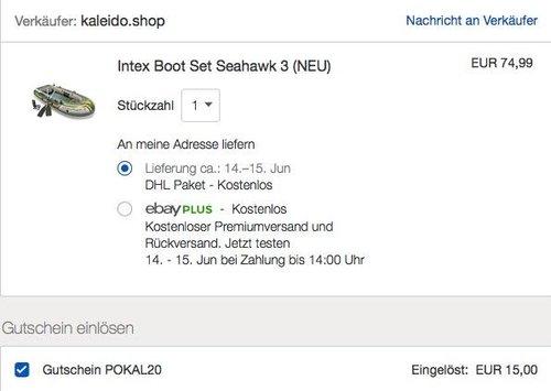 eBay 20% Rabatt auf ausgewählte Sport- & Mode-Artikel: Intex Boot Seahawk 3, grün, 295 x 137 x 43 cm - jetzt 20% billiger