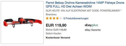 eBay: 6% Rabattausgewählte Elektronik und Haushaltsgeräte - Parrot Bebop Drohne Kameradrohne 14MP - jetzt 25% billiger