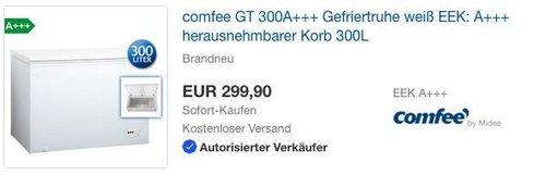 eBay Comfee - Aktion: z.B. comfee GT 300 A+++ Gefriertruhe - jetzt 26% billiger